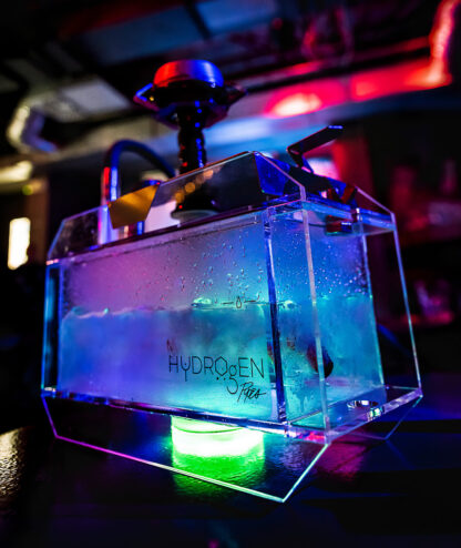 Modern tabletop Hookah for smoking tobacco in bars, lounges. LED underlight